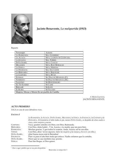 Jacinto Benavente La Malquerida Pdf