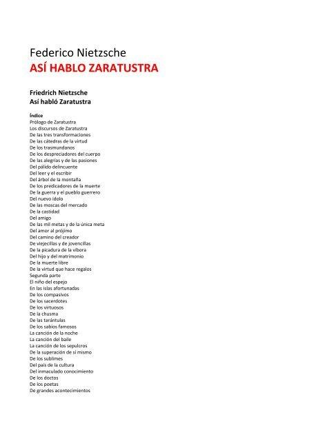 Federico Nietzsche Así Hablo Zaratustra