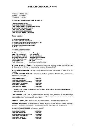 SESION ORDINARIA Nº 4 - Municipalidad de Alto Bio Bio