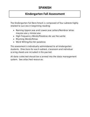 SPANISH Kindergarten Fall Assessment
