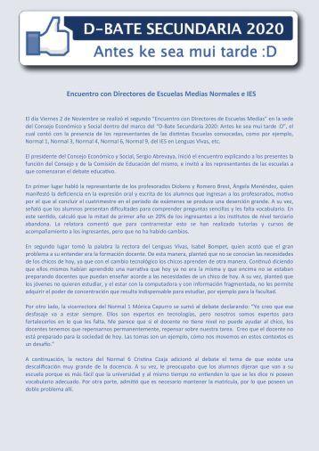 Encuentro con Directores de Escuelas Medias Normales e - consejo ...