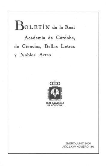 Boletín de la Real Academia de Córdoba, de Ciencias, Bellas Letras ...