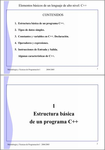1 Estructura básica de un programa C++