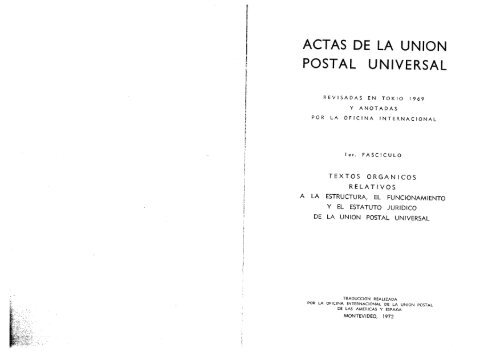 Actas De La Union Postal Universal Orden Jurídico Nacional