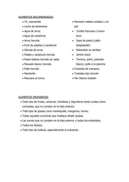 dieta astringente alimentos permitidos pdf