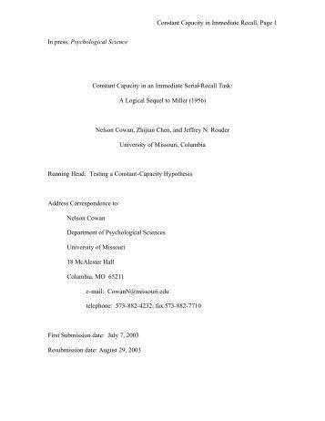 Cowan et al. in press 2004, Psychological Science, constan…