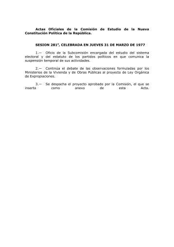 Sesiones 281 a 318 - Biblioteca del Congreso Nacional de Chile
