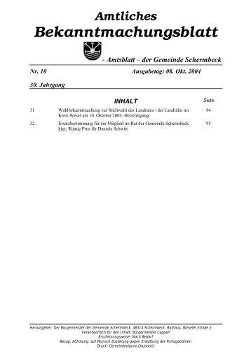 Amtliches Bekanntmachungsblatt vom 10.10.2004 - Gemeinde ...