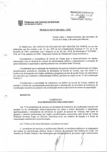 Resolução Nº 001/2012 - TCE / RN