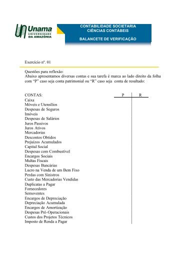 Exercício nº. 01 Questões para reflexão: Abaixo ... - Arquivos UNAMA