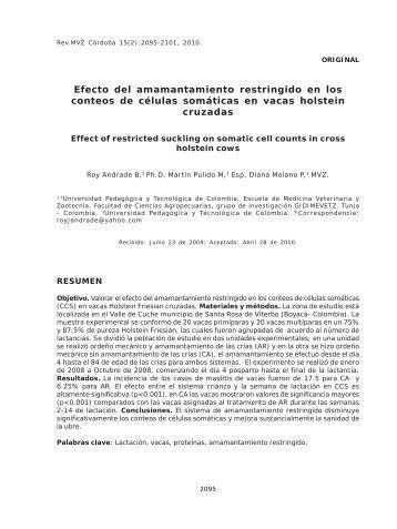 Efecto del amamantamiento restringido en los conteos de células ...