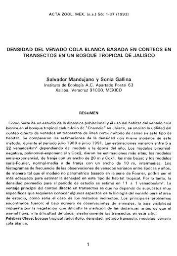 DENSIDAD DEL VENADO COLA BLANCA BASADA EN CONTEOS ...