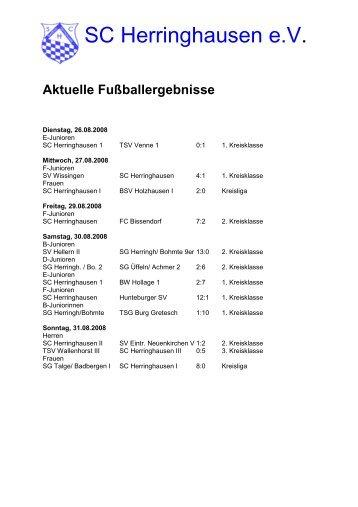 Ergebnisse und Vorschau 01.09.2008 - SC Herringhausen