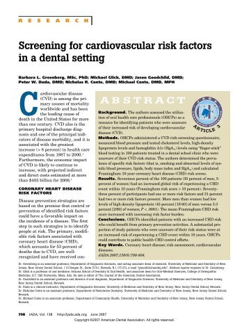 Screening for cardiovascular risk factors in a dental setting - MedWoRx