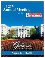124th Annual Meeting - The West Virginia Bar Association
