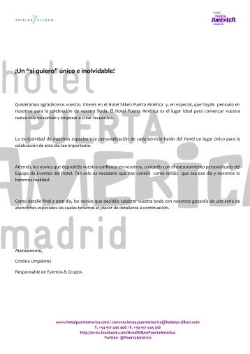 dossier celebración de bodas 2013 - Hoteles SILKEN