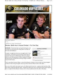 Brooks: Buffs Are A House Divided - For One Day - CUBuffs.com
