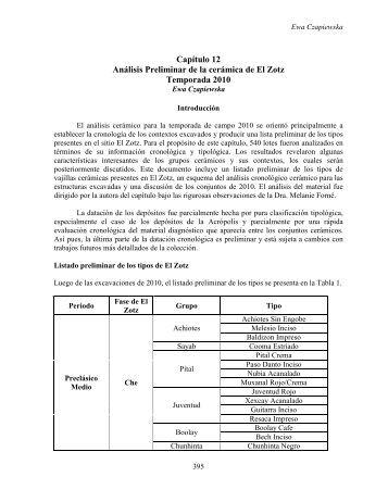 Capítulo 12 Análisis Preliminar de la cerámica de El Zotz ... - Mesoweb