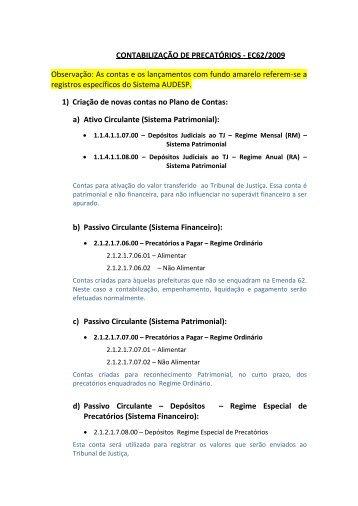Manual de Contabilização de Precatórios - Tribunal de Contas do ...