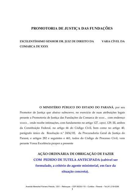 Modelo De Ação Prestação De Contas Ministério Público Do