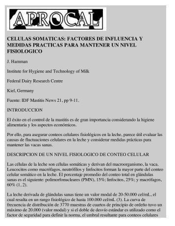 CELULAS SOMATICAS: FACTORES DE INFLUENCIA Y ... - Aprocal
