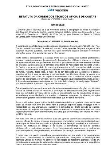 estatuto da ordem dos técnicos oficiais de contas - Livraria Vida ...