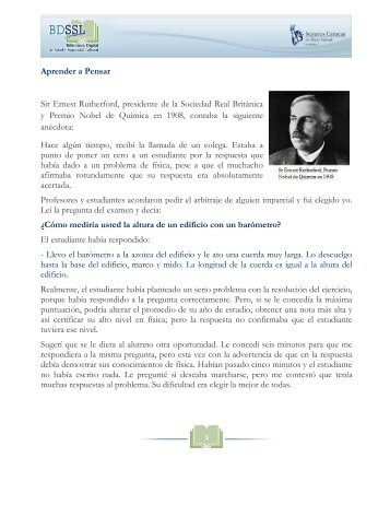 Aprender a Pensar Sir Ernest Rutherford ... - Seguros Caracas