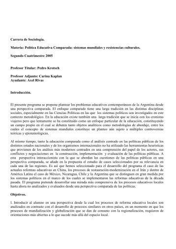 Política Educativa Comparada - carrera de sociología - UBA