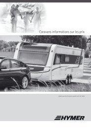 Caravans informations sur les prix