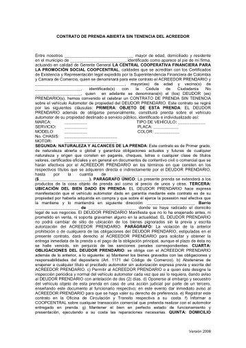 Contrato De Prenda Mercantil Sobre Acciones