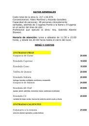 ENTRADAS FRIAS ENTRADAS CALIENTES