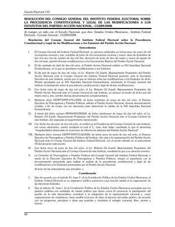 Gaceta Electoral 110 40 RESOLUCIÓN DEL CONSEJO GENERAL ...