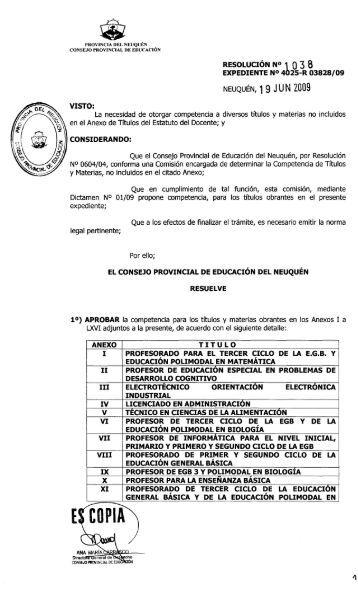 Res. 1038/09 - Gobierno de la Provincia de Neuquén