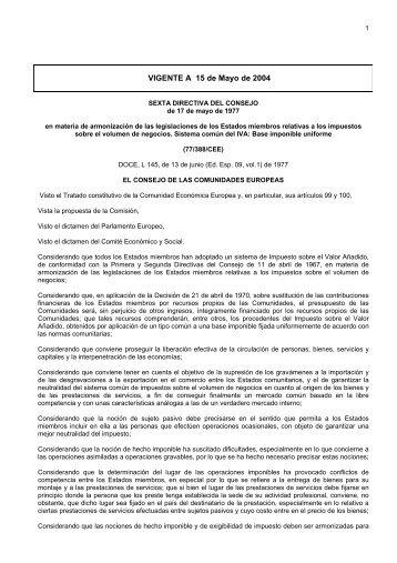 Sexta Directiva del Consejo de 17 de mayo de 1977 [PDF] - Factura ...