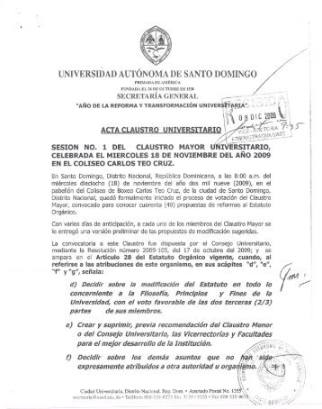 acta del claustro mayor suscritas por el rector - Alianza Académica