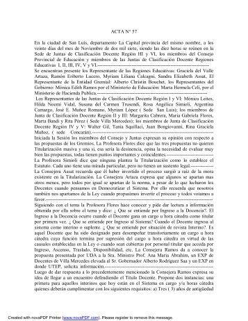 ACTA N° 57 En la ciudad de San Luis, departamento La Capital ...
