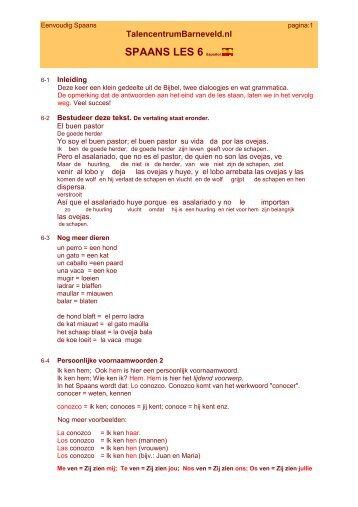 SPAANS LES 6 Español - Talencentrum Barneveld
