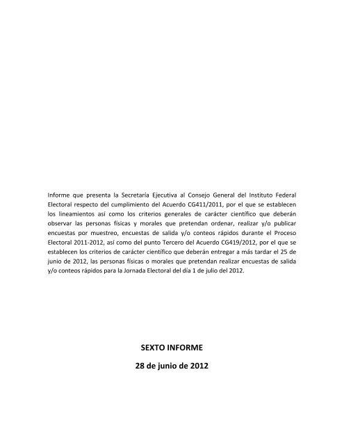 Sexto Informe 28 De Junio De 2012 Instituto Federal Electoral