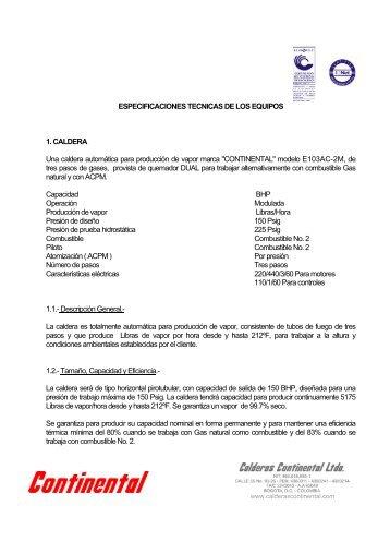 ESPECIFICACIONES TECNICAS DE LOS EQUIPOS 1. CALDERA ...