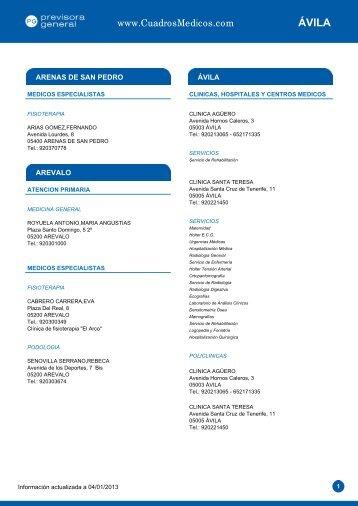 ÁVILA - cuadros medicos