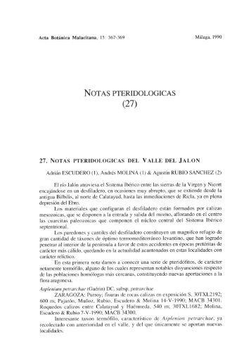 NOTAS PTERIDOLOGICA S (27) - Departamento de Biología Vegetal
