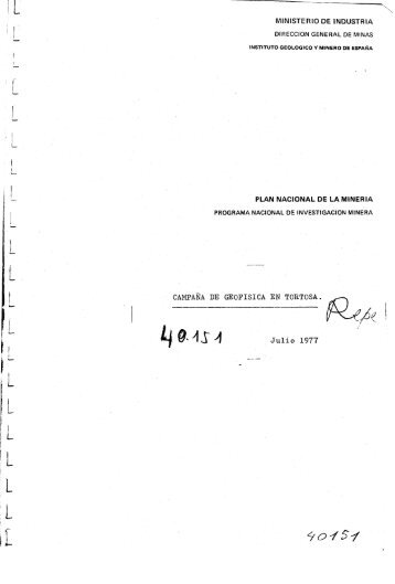 MINISTERIO DE INDUSTRIA Julio 1977 - Instituto Geológico y ...