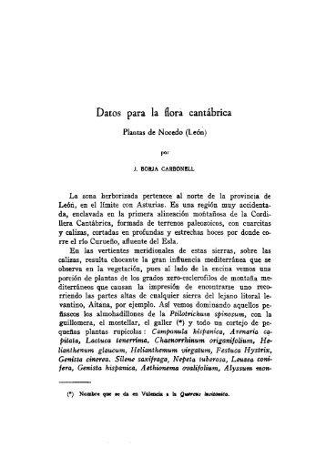 Datos para la flora cantábrica Plantas de Nocedo (León) por J ...