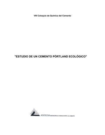 Estudio De Un Cemento Portland Ecológico - Asocem