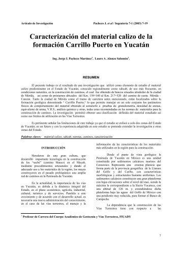 Caracterización del material calizo de la formación Carrillo Puerto ...