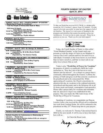 FOURTH SUNDAY OF EASTER April 21, 2013 - IHM Parish
