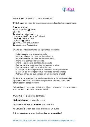 EJERCICIOS DE REPASO. 1º BACHILLERATO 1 ... - Phi Estudios