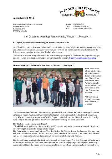 """Jahresbericht 2011 Seit 24 Jahren lebendige Partnerschaft """"Warum ..."""