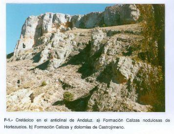 F-1.- Cretácico en el anticlinal de Andaluz. a) Formación Calizas ...