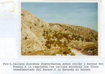 Fot-1.Calizas miocenas discordantes sobre caliza y margas del ...